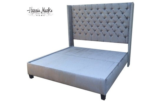 Tufted bed wingback extra tall velvet king queen full twin any - Extra tall queen bed frame ...