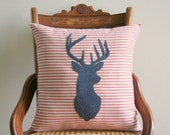 "deer pillow cover, lodge decor, rustic decor, gifts under 50, holiday decor, 16"" x 16"", farmhouse cabin style, fall holiday decor"