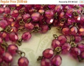 sale NEW Handmade Linked Beaded Chain with Pomegranate Shimmer 6mm Faceted Czech Glass Beads