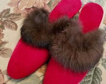 Vintage Red Velvet and Brown Rabbit Fur Trim Heeled Slippers Size 5 or 6 Ladies