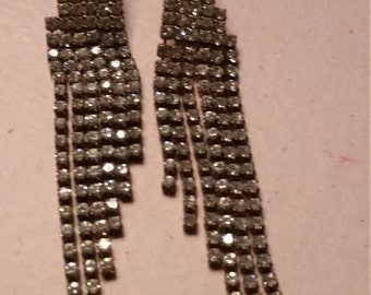 Vintage Dangling Silver Tone Clear Rhinestones Earrings Faceted For Pierced Ears Bride Bridal Something Old Long