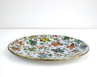 Vintage Daher tin tray / Colorful flowers / Lithograph oval plate