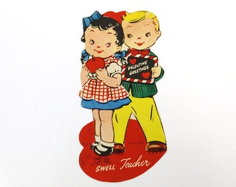 To a Swell Teacher - Vintage Valentine's Day Card