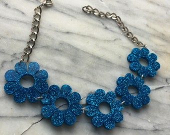 Flower power glitter blue choker (ready to ship)