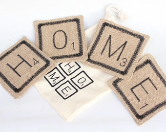 Hessian Scrabble Tile Coasters - Embroidered Burlap Drink Mats - Gift Set of 4 with Drawstring Bag - New Home - Christmas Stocking Stuffer