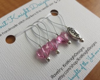 Love Stitch Marker Set- Rose pink