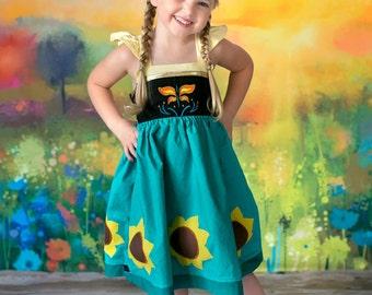 Frozen Fever Anna Dress,  Anna's Frozen Fever Dress inspired by Disney's Princess Anna, sizes 2T-8girls