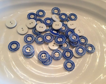 All the same button - 50 vintage blue with white plastic 2 hole buttons