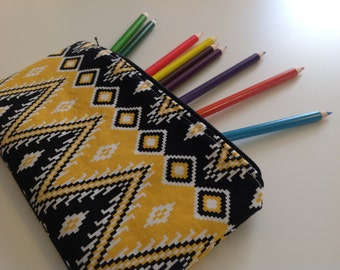 Zippered Case, Pencil Case, Zipper Pouch, Coworker Gift, Tampon Case, Purse Organizer, Vinyl Lined, Gift Under 15, Your Choice