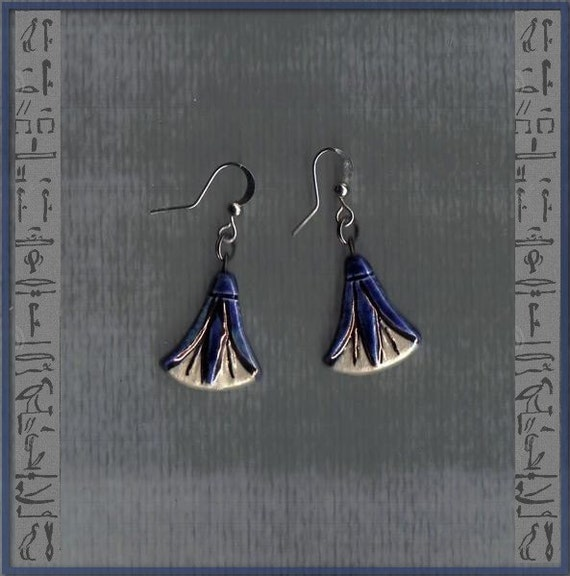 Ancient Egyptian Lotus flower earrings - cobalt blue, white and gold