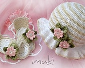 PEARL baby set crochet pattern - hat with sandals. Permission to sell finished items.