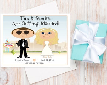Las Vegas Save the Dates — Available as a Card or a Magnet! Vegas Wedding Invitations, Las Vegas Wedding, Destination Wedding