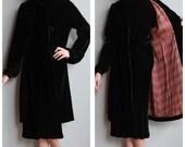 1930s Coat // Velvet Black Coat // vintage 30s coat