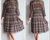 1940s Dress // Silk Fields of Flowers Dress // vintage 40s dress