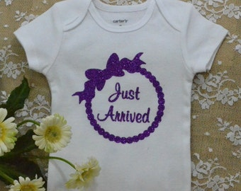 Baby Onesie Bodysuit, Just Arrived bodysuit,  baby outfit ,  bodysuit,  newborn ,  Coming home outfit, Purple Sparkles