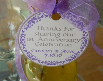 "2"" 1st Anniversary Thank You Favor Custom Tags - Floral Border Tags - for Mini Wine and Champagne Bottles - (50) Printed Gift Tags"