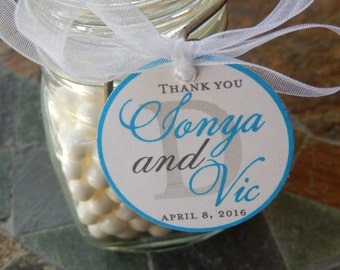 "50 Wedding or Anniversary Monogram Custom 1.5"" Thank You Favor Tags - For Cake Pops - Lollipops - Cookies - Couples Shower Tags - Gift Tags"