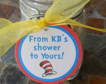 "Baby or Bridal Shower Custom 1.5"" Favor Tags - Dr. Seuss Cat in the Hat - For Cake Pops - Lollipops - Cookies - Party Favors - (50) Tags"