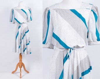 Vintage 1980s Heather Grey white Teal Diagonal Stripe Print Dress * Secretary Preppy Indie Hipster Executive * Size Large * FREE SHIPPING