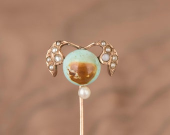 Natural Turquoise and Seed Pearl Abstrack Quidditch Ball Custom Conversion 14k Gold Stick Pin Ring Earring or Necklace
