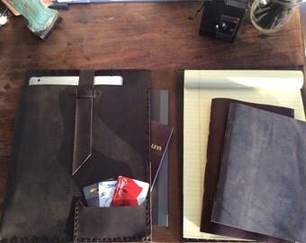 iPad padfolio with notepad, Leather document carrier, Handmade portfolio iPad case, Pocket padfolio, Leather conference folder, Portfolio