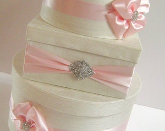 Wedding Card Box Cream and Pink Customizable in your Color