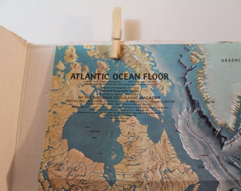 Vintage Atlantic Ocean topographical National Geographic June 1968 wall decor