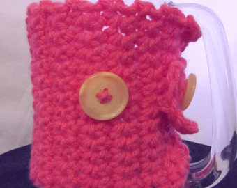 Mug Cozy Cover, Coffee Cup Sweater/Cozy, Pink, Cozi, Crochet, Coffee Mug, Adjustable, Button Up, Beverage Warmer, Cup Cover, Spring