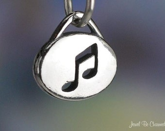 Sterling Silver Music Notes Cutout Charm Musician Small Oval Solid 925