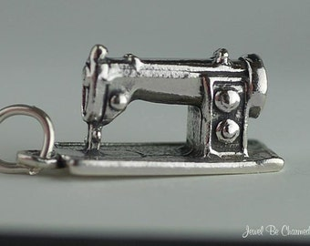 Sewing Machine Charm Sterling Silver Sewer Seamstress Tailor 3D .925