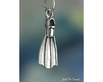 Sterling Silver Fin Flipper Scuba Diving Charm Ocean Diver Solid .925