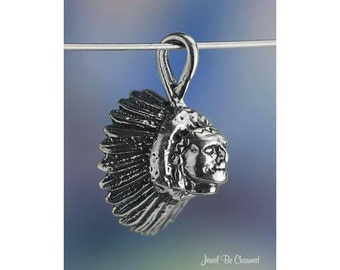 Indian Chief CHARM or PENDANT Sterling Silver Native American .925