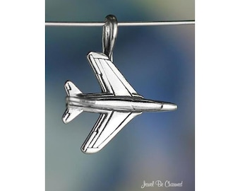 Sterling Silver Jet Plane CHARM or PENDANT Airplane Travel Solid .925