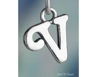 Sterling Silver Script Letter V Charm Initial Cursive Shiny Solid .925