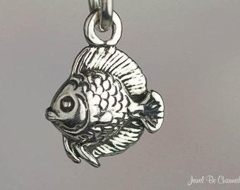 Fish Charm Miniature Sterling Silver Heckel Discus Ocean Aquarium Tiny