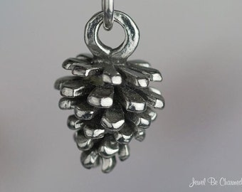 Sterling Silver Small Pine Cone Charm Woodland Nature 3D Solid .925