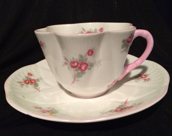 Shelley Tea Cup and Saucer- Rose Spray - Pink Roses -Fluted - England - Wedding Tea Cup