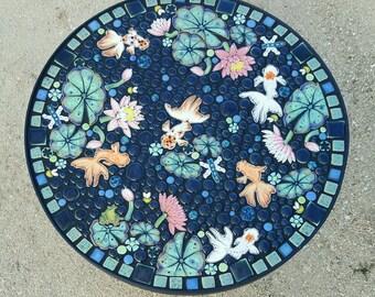 "25"" round, fancy goldfish garden mosaic table. Handmade ceramic koi waterlily mosaic art tiles."