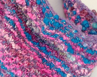 Chunky Hand Knit Cowl, Reversible Infinity Scarf, Hand Spun Art Yarn, Boho Scarf, Urban Fashion, Pink Purple Blue Sparkle