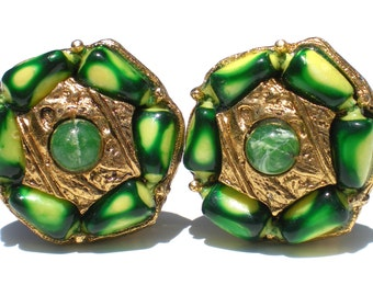 Selini Green & Gold Clip Earrings on Ornate Gold Tone with Colorful Green Art Plastic - Vintage Jewelry Signed Selini