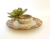 Vintage Stoneware Chip and Dip Serving Dish OR Small Planter