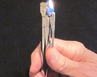 Mechanical Pencil Lighter 1950s Silver Propelling Pencil Lighter Knight Working