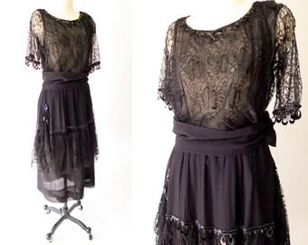 AUTHENTIC Edwardian Black Silk and Lace Dress / 1910s Silk Dress