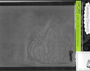 Darice Embossing Folder  --  New  -- Fall Pumpkins with Basket  --  (#1790)