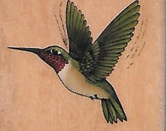 Hummingbird Stamp --   NEW  -- Wood Mounted Rubber Stamp --  Rubber Stampede Brand --   (#1457)