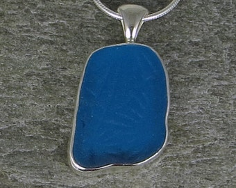 Turquoise Sea Glass Bezel Pendant necklace