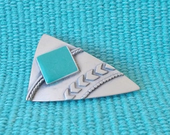 Vintage 1988 JJ Abstract Pewter Pin/Brooch-Square Stone or Tile-Unusual Triangle Design