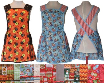 Plus size Apron, Cross Back Apron - Choice of Christmas, Thanksgiving or Halloween fabric - Made to Order Sizes XL, 2X, 3X, 4X