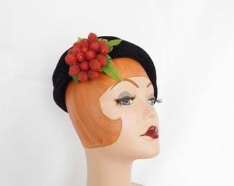 Black velvet hat with red berries, vintage tilt