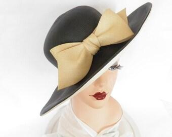 Vintage black straw hat, large bow, white underbrim Adolfo Realites